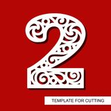 Number two - 2. Template for laser cutting, wood carving, paper cut and printing. Vector illustration Stock Photo