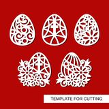 Set of Decorative element - Easter Eggs with Flowers and cross. Template for laser cutting, wood carving, paper cut and printing. Vector illustration Stock Photo