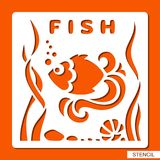 Stencil for children. Fish, seaweed, stones and shell. Template for laser cutting, wood carving, paper cut and printing. Vector illustration Stock Image