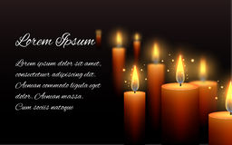 Template letter of condolence with burning candle Stock Image