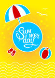Template with lettering summer day. Design template with lettering summer day. Illustration Royalty Free Stock Photos