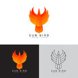 Template logo of phoenix. Color symbol of fire bird. Icon in line art style. Vector illustration Stock Image