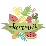 Template logo for summer time Ribbon decorated tropical set of fruit Vector banner. Template logo for summer time Ribbon decorated tropical set of fruit royalty free illustration