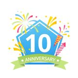 Template Logo 10th anniversary with fireworks and number10 in it and labeled the anniversary year.Vector. Temlate vector illustration