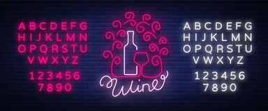 Template logo wine bar in a trendy neon style. Logo, badge glowing banner. For the menu, bar, restaurant, wine house Stock Image