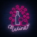 Template logo wine bar in a trendy neon style. Logo, badge glowing banner. For the menu, bar, restaurant, wine list. Template logo wine bar in a trendy neon Stock Image