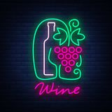 Template logo wine bar in a trendy neon style. Logo, badge glowing banner. For the menu, bar, restaurant, wine list. Template logo wine bar in a trendy neon Royalty Free Stock Photo