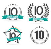 Template Logo 10 Years Anniversary Set Vector Illustration. EPS10 stock illustration