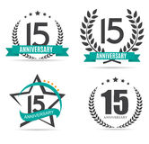 Template Logo 15 Years Anniversary Set Vector Illustration. EPS10 Royalty Free Illustration