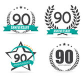 Template Logo 90 Years Anniversary Set Vector Illustration. EPS10 Stock Illustration