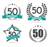 Template Logo 50 Years Anniversary Vector Illustration. EPS10 Stock Images
