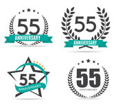 Template Logo 55 Years Anniversary Vector Illustration. EPS10 Stock Images