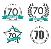 Template Logo 70 Years Anniversary Vector Illustration. EPS10 Stock Photography