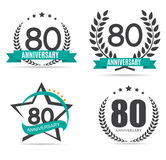 Template Logo 80 Years Anniversary Vector Illustration. EPS10 royalty free illustration