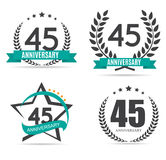 Template Logo 45 Years Anniversary Vector Illustration. EPS10 Stock Images