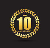 Template Logo 10 Years Anniversary Vector Illustration Stock Photography