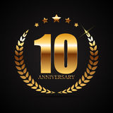 Template Logo 10 Years Anniversary Vector Illustration. EPS10 Stock Image
