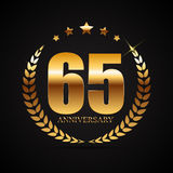 Template Logo 65 Years Anniversary Vector Illustration. EPS10 stock illustration