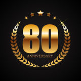 Template Logo 80 Years Anniversary Vector Illustration. EPS10 stock illustration