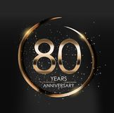 Template Logo 80 Years Anniversary Vector Illustration. EPS10 Royalty Free Stock Image