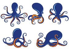 Set of blue silhouette of octopus Stock Photo