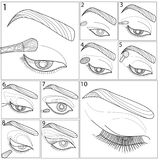 Template for make up. Art therapy. Coloring book for adults. Stock Image