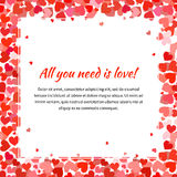 Template with many red hearts and text space, square illustration Stock Images