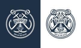 Marine emblem with anchors stock illustration