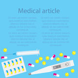 Template medical article on a blue background with pills and capsules with a thermometer and a syringe. Stock Image