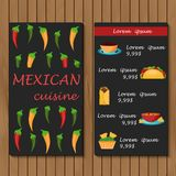 Template for menu or booklet with cartoon mexican Stock Images