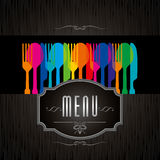 Template for menu card with cutlery Stock Photo