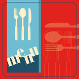 Template for menu card with cutlery Stock Image