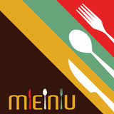 Template for menu card with cutlery. Vector Illustration Stock Images