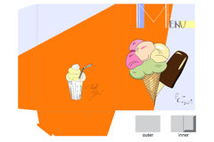 Template for menu folder. With ice-cream Royalty Free Stock Photos