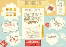 Template Menu Placemat for Burger House Stock Photos