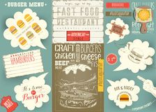 Template Menu Placemat for Burger House Royalty Free Stock Image