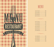 Template menu with price. With tablecloth texture with the cell and fork stock illustration