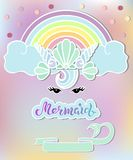 Template with Mermaid`s Seashell Crown, Rainbow. Handwritten lettering Mermaid as cloud, logo, sticker, party props. Template for Mermaid party, invitation royalty free illustration