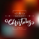 Template Merry Christmas greeting card. Holiday lettering design. Template Merry Christmas greeting card on blurred background. Holiday lettering design Stock Images
