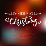 Template Merry Christmas greeting card. Holiday lettering design. Template Merry Christmas greeting card on blurred background. Holiday lettering design Royalty Free Stock Photos