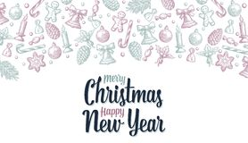 Template for Merry Christmas Happy New Year greeting card Stock Photos