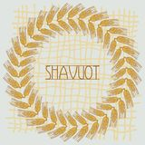 Decorative grain ears to create design compositions. The Jewish holiday of Shavuot. Symbols of the harvest and. Template in a minimalist style to create labels royalty free illustration