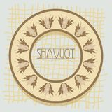 Decorative grain ears to create design compositions. The Jewish holiday of Shavuot. Symbols of the harvest and. Template in a minimalist style to create labels Stock Images