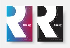 Template of a modern annual report cover with the silhouette of. The letter R. Design of a poster, flyer, brochure with soft gradient. Vector illustration vector illustration
