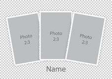 Template modern photoframes soft white frames. Vector illustration Stock Photography