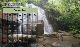 Template of 2019 Monthly Calendar with amazing nature landscape. Background. Copy Space royalty free stock photography