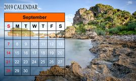 Template of 2019 Monthly Calendar with amazing nature landscape. Background. Copy Space royalty free stock image