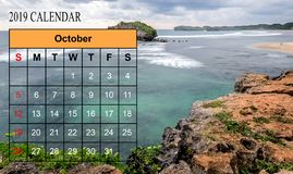 Template of 2019 Monthly Calendar with amazing nature landscape. Background. Copy Space royalty free stock photo