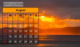 Template of 2019 Monthly Calendar with amazing nature landscape. Background. Copy Space stock photos