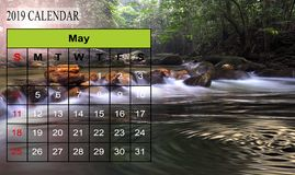 Template of 2019 Monthly Calendar with amazing nature landscape. Background. Copy Space stock photography